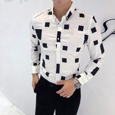 37469c80a High Quality Autumn Men Shirt Fashion 2018 Slim Fit British Style Casual Shirts  Mens Long Sleeve Business Work Shirts Dress Mens