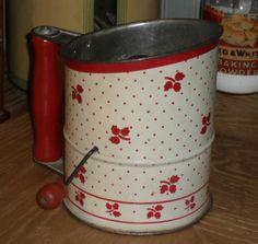 Ruby Lane ~ 1940s Tin Flour Sifter - Red & White Tea Leaf Design