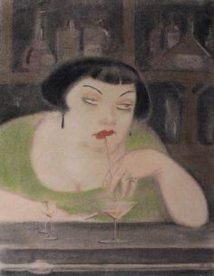Olaf Jordan(1902-1968), The Girl at the Bar, 1925. Charcoal and pastel, 18 x 14 in.  glyphs likes this