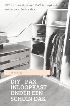PAX inloopkast onder een schuin dak! - Jamey Bedroom Closet Storage, Loft Room, Roomspiration, Walk In Closet, White Bedroom, New Room, Home And Living, Kids Bedroom, Interior Inspiration