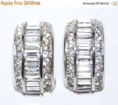 SALE Vintage Christian Dior Rhinestone Half Hoop Clip Earrings Ear Rings by Savesitall on Etsy