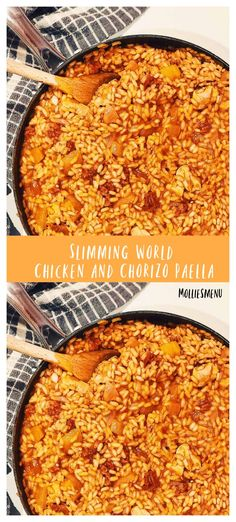 A flavourful paprika, chicken and chorizo paella is a recipe you need to spice up your diet. Make this tasty Spanish dish today! Why wouldn't you?! #slimmingworld #paella #healthydinner #molliesmenu #chickenandchorizo #spanishfood