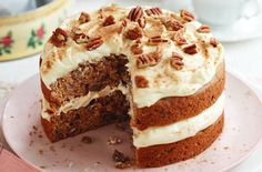 Deliciously moist sweet potato and pecan cake is a must-make cake recipe. The sweet potato makes the sponge extra moist, with no butter required. The pecans are spiced with allspice and cinnamon and the frosting is infused with dark maple syrup. Dessert Cake Recipes, Easy Cake Recipes, Frosting Recipes, Just Desserts, Savoury Recipes, Baking Recipes, Rhubarb Upside Down Cake, Vegetable Cake, Veggie Cakes