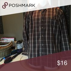 Men's button down Men's brown plaid button down shirt. 1 breast pocket on left side. C. E. Schmidt Shirts Casual Button Down Shirts