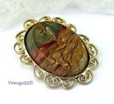Vintage Brooch Biggs  Jasper  Gold Vermeil by Vintage55 on Etsy, $68.00