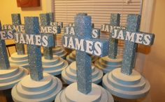 Christening centerpieces - Please visit Whimsical Designs on Facebook or email mywhimsicaldesigns@yahoo.com for more info