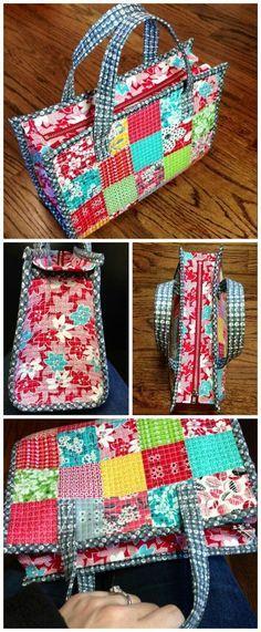 Kostenlose Tasche Nähen Muster. Kann zu einer Patchwork-Tasche verarbeitet oder aus Ihrem Lieblingsstoff hergestellt werden. Schöne kleine Größe für eine Handtasche, keine große Tragetasche.