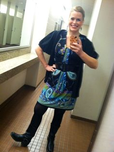 Psychedelic Print dress, Harley Boots.  My favorite boots ever.