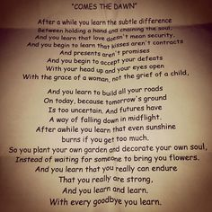 Comes the Dawn-one of my all time favorite poems.