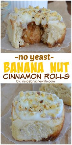 These easy NO YEAST cinnamon rolls are made with banana and nuts and can be on your breakfast table in 45 minutes!