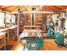 Woodworking Shop Shop with table saw in center Workshop Layout, Workshop Plans, Workshop Design, Garage Workshop, Wood Workshop, Workshop Ideas, Woodworking Shop Layout, Woodworking Workshop, Woodworking Crafts