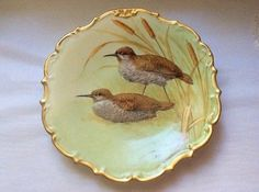 Antique-Hand-Painted-Limoges-Game-Bird-Wall-Platter-L344