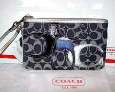 Coach 45681 Wristlet Purse Clutch Denim Blue Signature Big C's LARGE