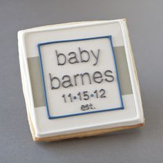 Baby shower cookies for a little boy-to-be. I used the invitation as inspiration for this urban design.