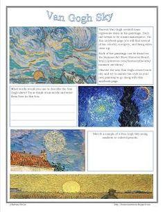 Van Gogh Sky Study - Free Notebook Page - Harmony Fine Arts Art Van, Van Gogh Art, Documents D'art, Programme D'art, Art Doodle, Art Handouts, Inspiration Art, Art Worksheets, Ecole Art