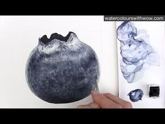 How to paint a realistic blueberry with just ONE colour -in watercolor - by Anna Mason - YouTube