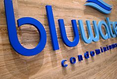 Solution Worx - Bluewater condominiums corporate logo sign made by Art Signs in Oakville location