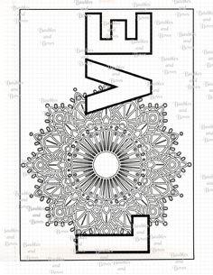 Love Printable Adult Mandala Coloring Page Digital By SewLacee Swear Word