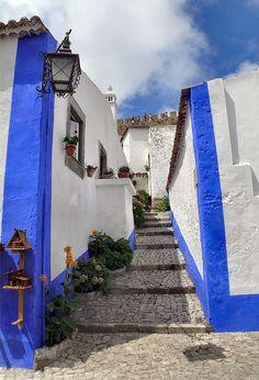 Stone paved stairway street at Óbidos, Leiria, Portugal