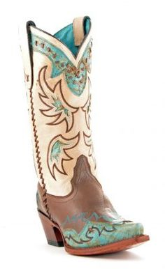 Womens Brown w/Turquoise Inlay Floral Tooled Corral Boots- I don't ...