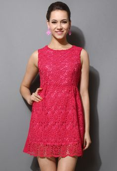 Hot Pink Full Crochet Dress