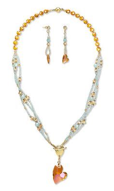 Jewelry Design - Triple-Strand Necklace and Earring Set with Swarovski Crystal, TierraCast® Antiqued Gold-Plated Pewter Clasp and Seed Beads - Fire Mountain Gems and Beads