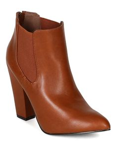 Breckelles BF99 Women Leatherette Pointy Toe Chunky Heel Chelsea Riding Ankle Bootie - Tan