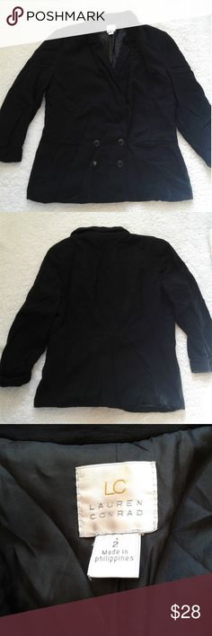 Lauren Conrad Black Blazer Great condition! This is perfect for the workplace or to pair with jeans for a more casual feel!  Materials:  Shell- 90% rayon, 10% nylon. Lining- 100% polyester   Approximate measurements:  Shoulder to shoulder- 14 1/2 inches  Length- 21 1/2 inches  Hem- 18 1/2 inches   Any questions, just ask! LC Lauren Conrad Jackets & Coats Blazers