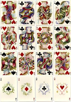 cards from the original 1948 edition of the set designed by Cassandre for Hermès-Paris