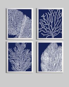 Coral Ocean Beach Cottage Sea Prints Navy White by ZeppiPrints, $48.00