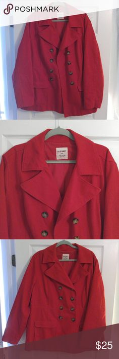 NWOT Women's Old Navy Red Twill Peacoat The perfect coat for winter and fall! This peacoat features a four button closure, is fully lined, and functioning pockets. New without tags, never worn. Size labeled XXL. Old Navy Jackets & Coats Pea Coats