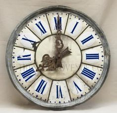BAGNOLET PARIS CIRCA 1830 19TH CENTURY CADRAN de l' HORLOGE FROM A CHURCH TOWER ANTIQUE AND VERY RARE CLOCK FACE COBALT BLUE ROMAN NUMBERS FRAMED BY A PROFILED ZINC SURROUND MINOR DAMAGE DUE TO AGE