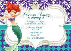 Download FREE Template Little Mermaid Printable Birthday Invitations Parties
