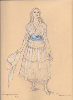 A costume sketch for Marguerite in Faust by Paul Tazewell Metropolitan Opera Season Creative Costumes, Cool Costumes, Vintage Costumes, Sweeny Todd Costume, Mickey Costume, Cloud Costume, Rendering Drawing, Costume Design Sketch, Epic Art