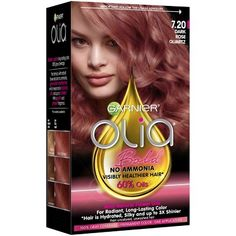 Olia Ammonia Free Hair Color in Medium Pearl Blonde by Garnier. Permanent hair color, with flower oils, to restore rough, dull hair back to silky, shiny hair. Olia Hair Color, Hair Color Purple, Hair Colors, Rose Gold Hair Dye, Rose Hair, How To Maintain Hair, Garnier Hair Color, Dull Hair, Hair Trends