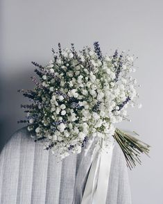 Hottest 7 Spring Wedding Flowers to Rock Your Big Day--baby breath and lavender wedding bouquets, spring wedding flowers, white and purple wedding colors Bridal Flowers, Flower Bouquet Wedding, Floral Wedding, Baby's Breath Wedding Bouquet, Dried Lavender Wedding, Bouquet Flowers, Purple Wedding, Hand Bouquet, Bridal Boquette