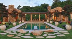 backyard style  backyard escape   pool landscaping  planters