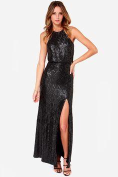 Line and Dot Monroe Black Sequin Maxi Dress at Lulus.com! Long Junior  Dresses 5b69113be