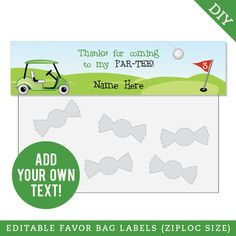 These adorable, personalized Valentine's Day stickers make gift-giving super easy. Pair them with party favor bags and your classroom gifts or party favors are done! Sports Party Favors, Party Favor Tags, Golf Party Decorations, Golf Theme, Shark Party, Tent Cards, 6th Birthday Parties, Tag Design, Party Shop