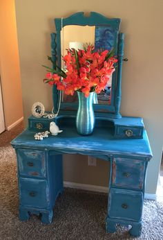 Gorgeous old dresser painted with..layers of Shining Seas, Voyage,Peacock
