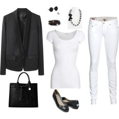 Black and White work outfit, created by tishgear on Polyvore