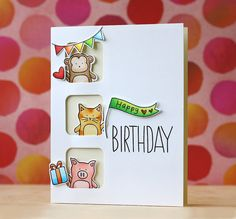 Adorable Baby Party Animal card by Laura Bassen using brand new Simon Says Stamp from the Falling For You release