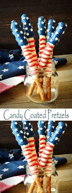 Patriotic Pretzels - These Patriotic Pretzel Rods are the perfect treat to bring to a 4th of July Potluck, or any patriotic themed occasion. They are also great dessert ideas for Memorial Day, Labor Day and Veteran's Day. Candy Covered Pretzels are easy to make and are a fun activity for kids in the kitchen. Patriotic Desserts, 4th Of July Desserts, Fourth Of July Food, 4th Of July Celebration, 4th Of July Party, Great Desserts, Holiday Desserts, Holiday Treats, Memorial Day Desserts