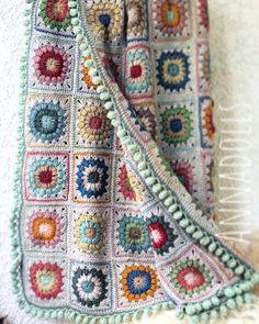 Handmade crochet Granny square blanket full of colors. Very warm blanket, with 80 Granny square. Colour: Multi - Color Measurements: 142 X 110 cm. Material: wool yarn Ready to ship. Crochet Vest Pattern, Granny Square Crochet Pattern, Crochet Squares, Crochet Granny, Crochet Blanket Patterns, Diy Crochet, Afghan Crochet, Crochet Pouch, Crochet Blankets