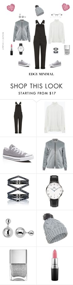 """Edgy Minimal"" by lipstick-and-loathing on Polyvore featuring Topshop, Zara, Converse, Acne Studios, Eva Fehren, Daniel Wellington, Lipsy, Mykita, MAC Cosmetics and women's clothing"