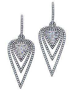 Triangular Rose Cut Diamond Earrings #jewelry #finejewelry #earrings #rosecut #diamonds #luxury #MartinKatz #MartinKatzJewels