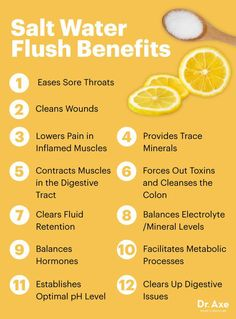 holistic health remedies - A salt water flush is the safest, easiest way to cleanse the colon and detox the body. Here's how to perform one and a salt water flush recipe to try. Salt Water Flush, Salt And Water, Salt Water Cleanse, Water Water, Sole Water, Natural Cures, Natural Health, Natural Diuretic, Dr. Oz
