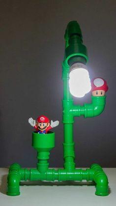 Mario Theme Pipe Lamp rustic decor retro and craft Pipe Diy Furniture Building, Pipe Furniture, Furniture Ideas, Rustic Lamps, Rustic Decor, Rustic Theme, Mario Room, Game Room Design, Steampunk Lamp