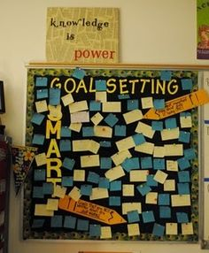 Goal setting: Parent sets a goal for their student in one post-it color, and student sets a goal in another post-it color. Genius!
