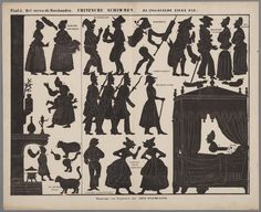 People, furniture, animals- Silhouette figures for use with Toy Theaters - c 1850-1880